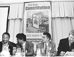 L-R ramaphosa, Jay Naidoo, Valli Moosa, Leon Wessel, at the launch of the constitution week at the Sunnyside Park Hotel. 03/13/1997. © Times Media