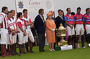 H.M. the Queen, Cartier International Day at Guard Polo Club, Windsor Great Park. 25 July 2004. SUPPLIED FOR ONE-TIME USE ONLY-DO NOT ARCHIVE. © Copyright Photograph by Dafydd Jones 66 Stockwell Park Rd. London SW9 0DA Tel 020 7733 0108 www.dafjones.com