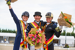 Podium Senioren 1. Jeroen Devroe, 2. Laurence Roos, 3. Isabel Cool<br /> Flanders Dressage Event 2018<br /> © DigiShots
