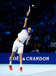 Marin Cilic serving during his match against Jack Sock during day three of the NITTO ATP World Tour Finals at the O2 Arena, London.