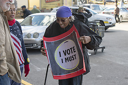 November 3, 2018 - Cheltenham, Pennsylvania, U.S - A Tom Wolf supporter hold a I Vote sign at the get out the vote rally held at a shopping center in Cheltenham Pennsylvania (Credit Image: © Ricky Fitchett/ZUMA Wire)