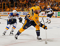 NASHVILLE, TN - MAY 02:  David Perron #57 of the St. Louis Blues chases Colton Sissons #10 of the Nashville Predators as he fires a shot during the third period of Game Four of the Western Conference Second Round during the 2017 NHL Stanley Cup Playoffs at Bridgestone Arena on May 2, 2017 in Nashville, Tennessee.  (Photo by Frederick Breedon/Getty Images)