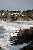 View of Mendocino Village across Mendocino Bay on the coast of Northern California.