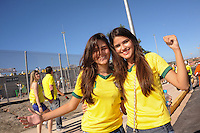 Local Brazilian female fans outside the stadium. Brazil v Mexico. FIFA Confederations Cup, Group match, Castelão Stadium, Fortaleza, Brazil 19th June 2013.