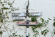 Road signs are seen in Crayke, Yorkshire, England, United Kingdom.
