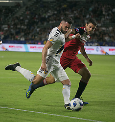 May 30, 2018 - Carson, California, U.S - Romain Alessandrini #7 of the LA Galaxy battles for the ball during their MLS game against FC Dallas on Wednesday, May 30, 2018 at the Stub Hub Center in Carson, California. LA Galaxy Lose to FC Dallas, 2-3. (Credit Image: © Prensa Internacional via ZUMA Wire)
