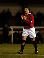 Photo: Jed Wee.<br /> Manchester United Reserves v Bolton Wanderers Reserves.<br /> 15/12/2005.<br /> <br /> Manchester United's Ole Gunnar Solskjaer applauds their third goal.