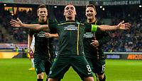 18/09/14 UEFA EUROPA LEAGUE<br /> SALZBURG v CELTIC<br /> RED BULL ARENA - SALZBURG<br /> Celtic captain Scott Brown celebrates after giving his side the lead