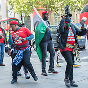 Indigenous People of Biafra (IPOB) protest to Stop the genocide in Biafarland. Enough is enough, of the troublemaker British coloniser free Mazi Nnamdi Kanu. We want our freedom of Biafra restoration outside Downing Street and march around centre London, 21 October, UK.
