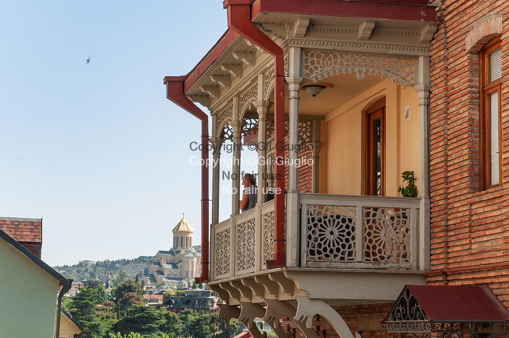 Georgie, maison traditionnel et balcon ottoman dans vieille-ville// Georgia, traditional house and ottoman balcon in old