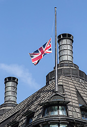 © Licensed to London News Pictures. 02/07/2015. London, UK. The Union Flag above Portcullis House is flying at half mast today in memory of the 30 British tourists that died in the terrorist attack in Sousse, Tunisia last week. Photo credit : James Gourley/LNP