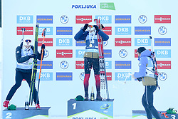 Second placed Johannes Dale of Norway, winner Sturla Holm Laegreid and third placed Quentin Fillon Maillet of France celebrate at medal ceremony during the IBU World Championships Biathlon 15 km Mass start Men competition on February 21, 2021 in Pokljuka, Slovenia. Photo by Vid Ponikvar / Sportida