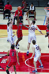 NORMAL, IL - February 27:  DJ Horne gets off a shot surrounded by 4 defenders during a college basketball game between the ISU Redbirds and the Northern Iowa Panthers on February 27 2021 at Redbird Arena in Normal, IL. (Photo by Alan Look)