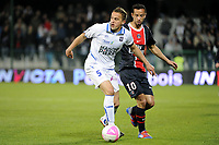 FOOTBALL - FRENCH CHAMPIONSHIP 2011/2012 - L1 - AJ AUXERRE v PARIS SAINT GERMAIN  - 15/04/2012 - PHOTO JEAN MARIE HERVIO / REGAMEDIA / DPPI - DARIUSZ DUDKA (AJA) / NENE (PSG)