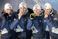 Kombinert, 23. januar 2005, VM Oberstdorf, Tyskland<br /> Norges lag som tok VM-gull, Magnus Moan, Petter Tande, Kristian Hammer, Havard Klemetsen (NOR),