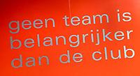 AALMERE - 'niemand is belangrijker dan het team, geen team is belangrijker dan de club'  tijdens de promotieklasse hockeywedstrijd dames,  Almere - Were Di (1-1).    COPYRIGHT KOEN SUYK