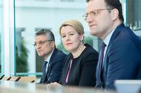"""09 APR 2020, BERLIN/GERMANY:<br /> Prof. Dr. Lothar H. Wieler (L), Praesident Robert Koch-Institut, Franziska Giffey (M), SPD, Bundesfamilienministerin, Jens Spahn (R), CDU, Bundesgesundheitsminister, Pressekonferenz """"Unterrichtung der Bundesregierung zur Bekämpfung des Coronavirus"""", Bundespressekonferenz<br /> IMAGE: 20200409-01-010<br /> KEYWORDS: BPK"""