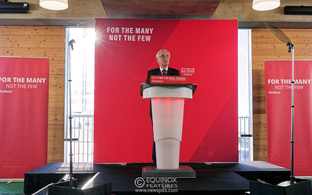 London, United Kingdom - 9 December 2019<br /> John McDonnell gives an economics speech in the run up to the general election 2019, on behalf of the Labour Party at Coin Street Community Builders, London, England, UK.<br /> (photo by: EQUINOXFEATURES.COM)<br /> Picture Data:<br /> Photographer: Equinox Features<br /> Copyright: ©2019 Equinox Licensing Ltd. +443700 780000<br /> Contact: Equinox Features<br /> Date Taken: 20191209<br /> Time Taken: 11161588<br /> www.newspics.com