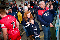 Bristol Rugby fans celebrate after a bonus point win - Rogan/JMP - 28/10/2017 - RUGBY UNION - Stade Santander International - St Peter, Jersey - Jersey Reds v Bristol Rugby - Greene King IPA Championship.