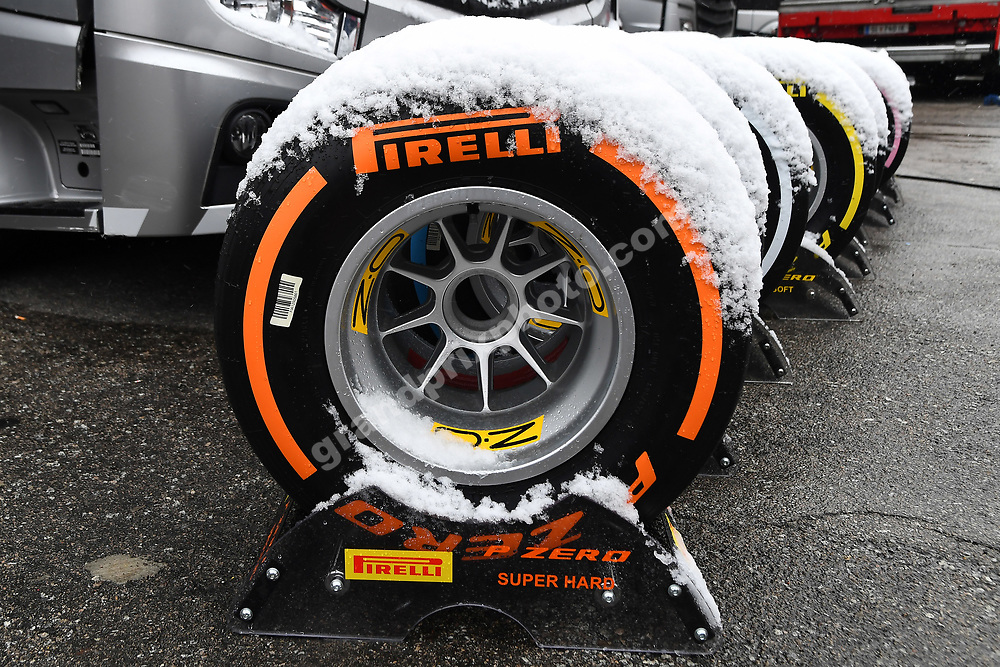 Pirelli tyres with snow during F1 testing at the Circuit Barcelona-Catalunya in Fabruary / March 2018. Photo: Grand Prix Photo