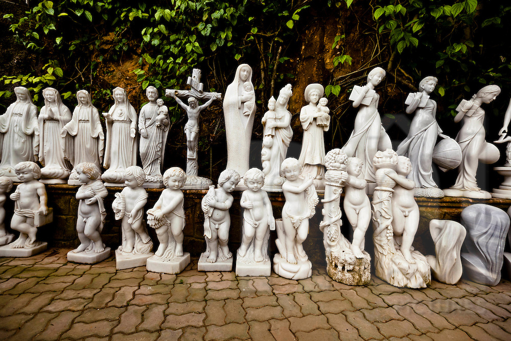 Marble statues displayed outside of Marble Mountain in Danang, Vietnam, Southeast Asia.