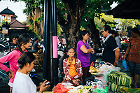 Early morning crowds at the local fresh market in Jimbaran, Bali, Indonesia.