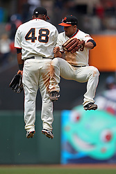 Pablo Sandoval and Andres Torres, 2010 World Series Champion Giants