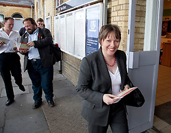 © Licensed to London News Pictures. 15/06/2011. Chatham, UK. Labours Shadow Transport Secretary, Maria Eagle MP meets commuters at Chatham rail station in Kent today (15/06/2011). Research shows how fare rises are now outstripping wage rises adding to the cost of living crisis facing families. Photo credit should read Manu Palomeque/LNP