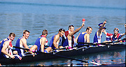 Sydney, AUSTRALIA, GBR M8+ 0n medal pontoon, after winning the gold medal in the men's eights, at the 2000 Olympic Regatta, Penrith Lakes. [Photo Peter Spurrier/Intersport Images]  [left to right]  HUNT-DAVIS, Ben, DENNIS, Simon, ATTRILL, Louis, GRUBOR, Luka, WEST, Kieran<br /> SCARLETT, Fred, TRAPMORE Steve and cox DOUGLAS, Rowley 2000 Olympic Rowing Regatta00085138.tif