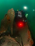 KISS rebreather scuba diver on the USS Indra Shipwreck in North Carolina, USA