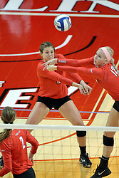 17 October 2015:  Ashley Rosch(15) and Aly Dawson(12) bot go for the same ball during an NCAA women's volleyball match between the Southern Illinois Salukis and the Illinois State Redbirds at Redbird Arena in Normal IL (Photo by Alan Look)