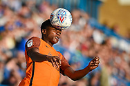 Southend United forward Shawn McCoulsky (28) heads the ball during the EFL Sky Bet League 1 match between Gillingham and Southend United at the MEMS Priestfield Stadium, Gillingham, England on 13 October 2018.