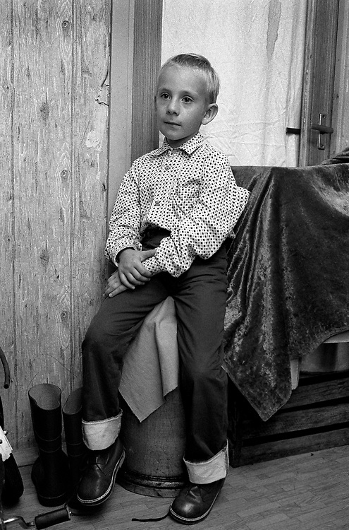Young boy at home.<br /> St Petersburg, Russia 1994