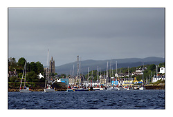 Yachting- The first days inshore racing  of the Bell Lawrie Scottish series 2002 at Tarbert Loch Fyne. Near perfect conditions saw over two hundred yachts compete. <br />Tarbert Harbour exodus<br />Pics Marc Turner / PFM