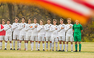 The Webster Statesman stand for the National Anthem before a Class 3 Sectional soccer match on Tuesday, Nov. 6, 2018, at Saint Louis Priory School in Creve Coeur, Mo.  Gordon Radford   Special to STLhighschoolsports.com