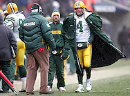 Green Bay Packers' Brett Favre in high winds during a timeout in the 3rd quarter. .The Green Bay Packers traveled to Soldiers Field in Chicago to play the Bears Sunday December 23, 2007. Steve Apps-State Journal.