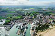 Nederland, Zeeland, Zeeuws-Vlaanderen, 19-10-2014; haven Breskens (Vissershaven, Handelshaven, jachthaven).<br /> Harbour in Breskens.<br /> luchtfoto (toeslag op standard tarieven);<br /> aerial photo (additional fee required);<br /> copyright foto/photo Siebe Swart