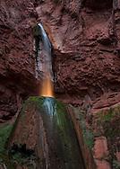 Ribbon Falls, North Kaibab Trail, Grand Canyon, North Rim, Arizona, National Park, light painting with flashlight behind the falls