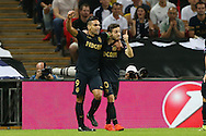 GOAL / CELE - Bernardo Silva of AS Monaco ® celebrates with teammate Radamel Falcao Garcia after scoring his sides 1st goal to make it 0-1. UEFA Champions league match, group E, Tottenham Hotspur v AS Monaco at Wembley Stadium in London on Wednesday 14th September 2016.<br /> pic by John Patrick Fletcher, Andrew Orchard sports photography.