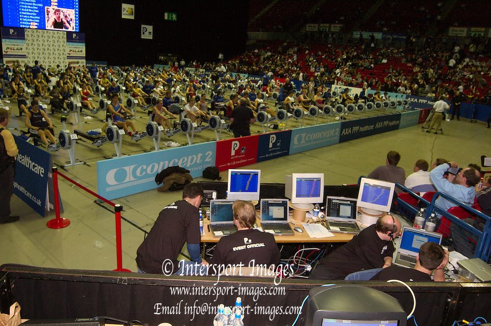 2004_British_Indoor_Rowing_Championships.NIA. Birmingham.England. 21.11.2004.GV's of the competition and control area.[Mandatory Credit Peter Spurrier/ Intersport Images]