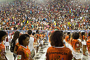 Salgueiro Samba School doing the final practice performance of their Carnival procession in the Sambadrome, Rio de Janeiro, Brazil