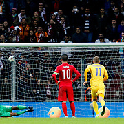 Kazakhstan's scores during their UEFA Euro 2016 qualification Group A soccer match Turkey betwen Kazakhstan at AliSamiYen Arena in Istanbul November 16, 2014. Photo by Kurtulus YILMAZ/TURKPIX