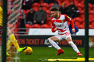 Alfie May of Doncaster Rovers (19) in action during the EFL Sky Bet League 1 match between Doncaster Rovers and Scunthorpe United at the Keepmoat Stadium, Doncaster, England on 15 December 2018.