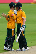 Ben Duckett and Tom Moores of Nottinghamshire celebrate the victory during the Vitality T20 Blast North Group match between Nottinghamshire County Cricket Club and Yorkshire County Cricket Club at Trent Bridge, Nottingham, United Kingdon on 31 August 2020.