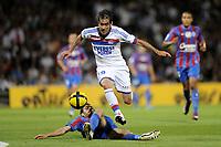FOOTBALL - FRENCH CHAMPIONSHIP 2010/2011 - L1 - OLYMPIQUE LYONNAIS v SM CAEN - 21/05/2011 - PHOTO JEAN MARIE HERVIO / DPPI - CESAR DELGADO (OL) / NICOLAS SEUBE (SMC)