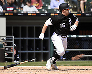 CHICAGO - APRIL 08:  Adam Engel #15 of the Chicago White Sox bats against the Tampa Bay Rays on April 8, 2019 at Guaranteed Rate Field in Chicago, Illinois.  (Photo by Ron Vesely)  Subject:   Adam Engel