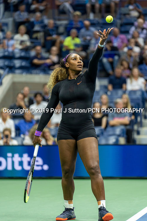 Serena Williams of  USA competing in the Women's Semi-Finals of the 2019 US Open Tennis Championships.
