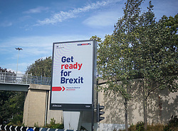 Pictured: A 'Get ready for Brexit' billboard, is pictured as a part of a huge government campaign at the City center of Sheffield.<br /> <br /> <br /> Giannis Alexopoulos | EEm 23/09/2019