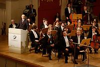09 FEB 2003, BERLIN/GERMANY:<br /> Wladimir Putin, Praesident Russische Foerderation, haelt eine Rede, waehrend der Eroeffnung der Deutsch-Russischen Kulturbegegnungen durch ein Konzert der Petersburger Philarmoniker, Konzerthaus am Gendarmenmarkt<br /> IMAGE: 20030209-01-035<br /> KEYWORDS: Präsident, Russische Förderation, Russland