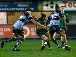 Eoin McKeon of Connacht under pressure from Rory Thornton of Cardiff Blues<br /> <br /> Photographer Simon King/Replay Images<br /> <br /> Guinness PRO14 Round 14 - Cardiff Blues v Connacht - Saturday 26th January 2019 - Cardiff Arms Park - Cardiff<br /> <br /> World Copyright © Replay Images . All rights reserved. info@replayimages.co.uk - http://replayimages.co.uk